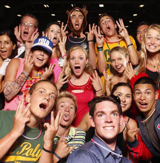 Image of a happy group of Cal Poly students
